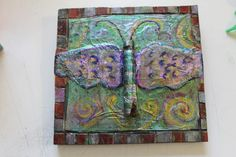 Butterly Mixed Media Paper Mache  Art 7.5 by 7 inches Insect Heart Whimsy #PopArt