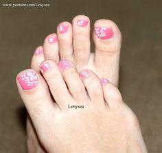Pink Lace Pedi by Lenysea - Nail Art Gallery nailartgallery.nailsmag.com by Nails Magazine www.nailsmag.com #nailart