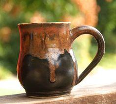 Earthy Coffee Mug hand thrown stoneware pottery by muddywaterscc
