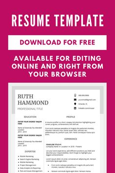 Make a professional resume and cover letter with this free resume template. Resume Template Examples, Teacher Resume Template, Resume Template Free, Creative Resume Templates, Resume Layout, Resume Design, Cover Letters, Cover Letter For Resume, First Resume