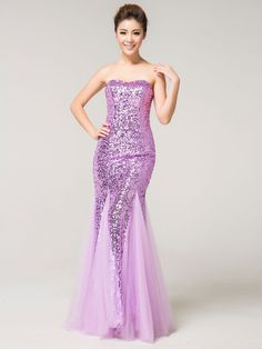 Purple Sequined Mermaid Long Evening Dress