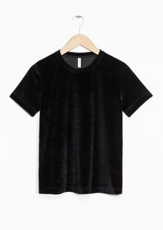 & Other Stories image 2 of Velour T-Shirt in Black