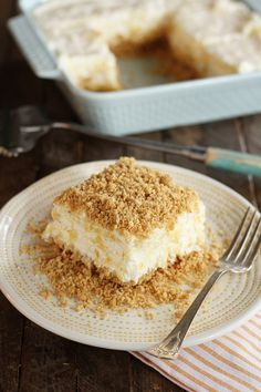 Pineapple Dream Dessert – Diane Baker Pineapple Dream Dessert This Pineapple Dream recipe is a light, fluffy dessert of crushed pineapple, cream cheese, and whipped topping, all sandwiched between layers of a delicious graham cracker crust. Potluck Desserts, Best Dessert Recipes, Sweets Recipes, No Bake Desserts, Easy Desserts, Baking Recipes, Delicious Desserts, Yummy Food, Cheesecake Desserts