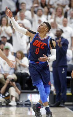 Oklahoma City Thunder guard Russell Westbrook (0) reacts after collecting a foul in the first half during Game 4 of an NBA basketball first-round playoff series against the Utah Jazz, Monday, April 23, 2018, in Salt Lake City. (AP Photo/Rick Bowmer)