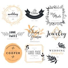 Beautiful logotype collection for wedding photography, decoration and planner Free Vector Wedding Logos, Elegant Wedding Invitations, Photography Logo Design, Wedding Photography, Logo Photographe, Banners, Wedding Hands, Flower Logo, Unique Logo
