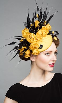 Rachel Trevor Morgan, S/S 2015. Yellow silk taffeta pillbox with roses and black claw feathers. #passion4hats