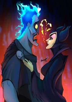 Hades and maleficent. hades and maleficent disney fan art Disney Pixar, Disney Magic, Disney Mode, Film Disney, Disney Villains, Disney And Dreamworks, Disney Characters, Disney Kunst, Arte Disney