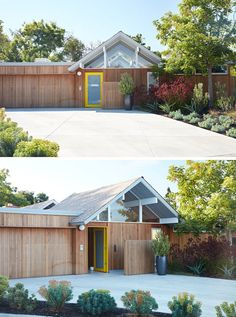 The new, natural wood exterior siding runs through the house, updating one of the classic design features of the Eichler homes.