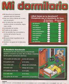 Infografía sobre el léxico de la casa: sus partes y objetos (muebles, electrodomésticos, elementos decorativos, etc.); las tareas domésticas y palabras que nos ayudan a describir la vivienda. (In...