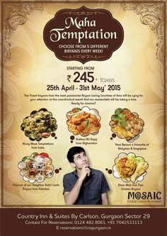 Time to give in to #MahaTemptation with a different #Biryani every week, starting tomorrow at Country Inn & Suites By Carlson, Sector 29, Gurgaon! #Sec29!
