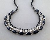 Sparkly Vintage Clear and Black Rhinestone Necklace. Quality.