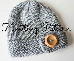 Chunky Button Baby Beanie Hat Knitting Pattern - Debbie Bliss Rialto Chunky - Instant Download