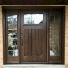 Side Light Entry Doors | Amberwood Doors Inc. Double Doors Exterior, Wooden Main Door Design, Beautiful Front Doors, Entry Doors, New Homes, House Design, Lights, Building, Front Porches