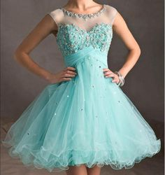 2016 Tiffany Blue Tulle Lace Cute homecoming prom dresses, CM0013