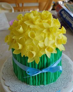 """My Pretty Daffodil Cake - COOKING - I made this cake in April for my husband's birthday barbecue. He got an """"official"""" birthday cake on his actual birthday that wasn' Gorgeous Cakes, Pretty Cakes, Cute Cakes, Amazing Cakes, Flan, Cake Cookies, Cupcake Cakes, Daffodil Cake, Spring Cake"""