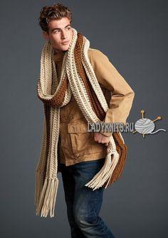 Теплый шарф крючком
