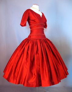 Vintage 50s Dress Full Skirt Red Rayon Small bust 36 at Couture Allure Vintage Clothing