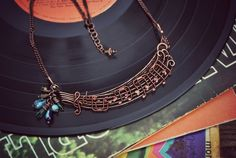 Copper necklace with Czech glass beads. The notes are from Jessie J's 'Nobody's perfect'