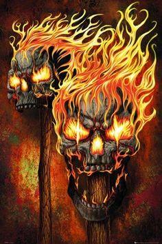 Risultati immagini per fantasy art skulls Art Harley Davidson, Fire Animation, Skull Pictures, Skull Artwork, Skull Drawings, Skeleton Art, Skull Wallpaper, Fire Art, Ghost Rider