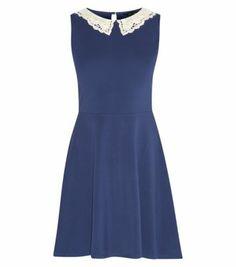 Blue Sleeveless Crochet Collar Skater Dress