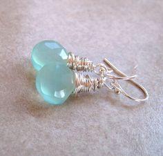 Aqua Blue Chalcedony Earrings Hand Wire Wrapped in Sterling Silver AAA Luxe Chalcedony Dangle Earrings etsy.com $38.00