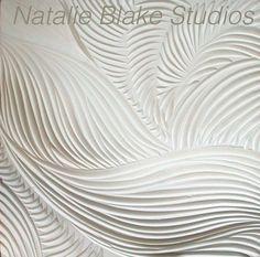 White porcelain Texture Tiles from Natalie Blake Studios. Hand carved, handmade tiles!
