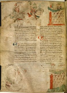 Tristan and his mentor arriving at a castle and (below) Tristan arriving in Cornwall by ship; from Roman de Tristan en prose, last quarter of the 13th century or first quarter of the 14th century, Italy (Genoa),