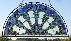 Midnight Turret Arched Stained Glass Window