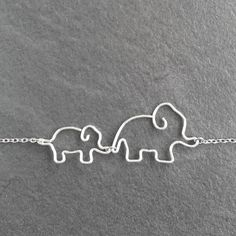 Mom Jewelry - Mother and Baby Elephants Necklace - Gift for Mom, Elephant Jewelry, Silver Wire Necklace - 'Elephants'