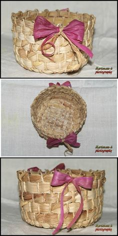 Handmade by marianam-h: Coşuleţ Leaf Crafts, Flower Crafts, Corn Husk Crafts, Corn Husk Dolls, Decoration, Decorative Boxes, Weaving, Miniatures, Basket