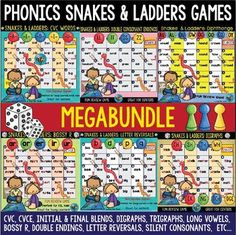 Educational Snakes and Ladders Game is a great review activity. My students really like these games.These game are perfect for your phonics centers and phonics word work activities. Phonics Snakes and Ladders Games Mega bundle includes the following games:CVC, CVCE, BLENDS, Digraphs, Trigraphs, Silent Consonants, Long Vowel Teams #tpt, #phonics, #readinggames