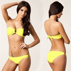 Vintage Sexy Ruffled Bandeau Biquini Thong Strappy solid color Swimsuit Halter Swim Wear Bathing Suit Swimwear Women Bikini