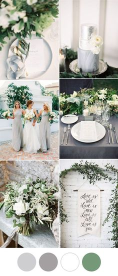 elegant and romantic grey and white greenery wedding ideas wedding colors 7 Popular Wedding Color Schemes for Elegant Weddings Wedding Table, Wedding Day, Trendy Wedding, Spring Wedding, Grey Wedding Theme, Wedding Venues, Rustic Wedding, Grey Wedding Colors, Wedding Cakes