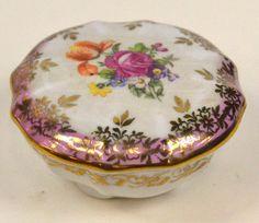 Dresden China Covered Trinket Purple Flower Dish Germany