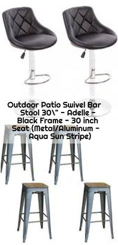 "Outdoor Patio Swivel Bar Stool 30"" - Adelle - Black Frame - 30 inch Seat (Metal/Aluminum - Aqua Sun Stripe) ,  ,  #Adelle #Aqua #bar #black #Frame #inch #MetalAluminum #Outdoor #Patio #Seat #Stool #Stripe #Sun #swivel Counter Bar Stools, Swivel Bar Stools, Accent Chairs, Aqua, Patio, Round Chair, Metal, Frame, Modern"