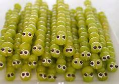 green grape worms on a stick- perfect for Halloween!