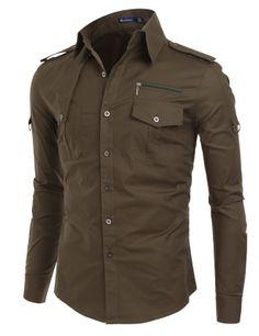 Doublju Mens Front Yoke Detail Long Sleeve Shirts (KMTSTL014) #doublju