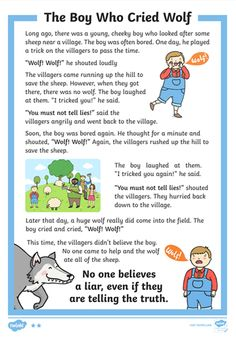 The Boy Who Cried Wolf Differentiated Reading Comprehension Activity Stories With Moral Lessons, English Moral Stories, Short Moral Stories, English Stories For Kids, Moral Stories For Kids, Learning English For Kids, Short Stories For Kids, English Worksheets For Kids, English Lessons For Kids