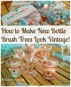bottle brush trees to buy | Gather up several small glasses or cups that are about the right size ...