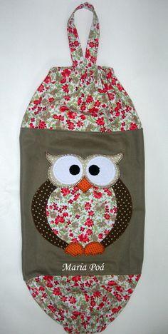 Puxa saco em tricoline algodão e sarja com aplicação. Consulte tecidos e cores disponíveis R$ 32,00