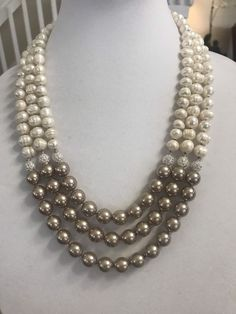 Multi strand necklace, Pearl necklace multi strand, Champagne Pearls with Cream and Spark multi strand necklace Multi Strand Pearl Necklace, Pearl Necklace Vintage, Initial Necklace Gold, Diamond Solitaire Necklace, Pearl Jewelry, Bridal Jewelry, Beaded Jewelry, Beaded Necklace, Dainty Jewelry