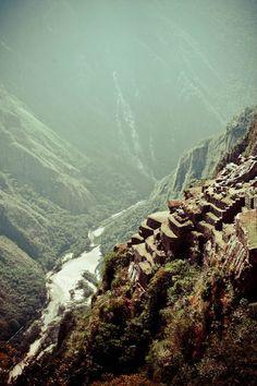 Terraces on the edge of the precipice at Machu Picchu