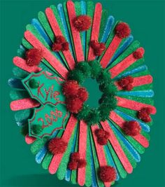 Craft Stick Christmas Wreath