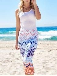 #Gamiss - #Gamiss Sleeveless Chevron Print Square Neck Bodycon Maxi Dress - AdoreWe.com
