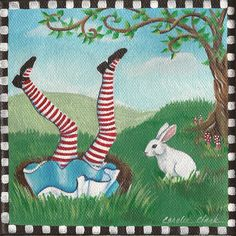 Items similar to Down the Rabbit Hole - 6 x 6 Print of Original Acrylic Painting by Carolee Clark on Etsy Lewis Carroll, Alison Wonderland, Adventures In Wonderland, Le Terrier, Alice In Wonderland Illustrations, Chesire Cat, Pin Up, Alice Madness Returns, White Rabbits