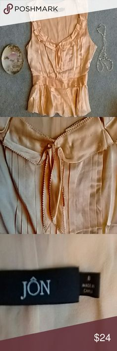 """Jon Yellow Silk Blouse; as is This is a lovely buttery peachy yellow blouse, a gift that was too big for me. It has been worn, it has a slight stain shown in pic 4. The bodice is lined, side zip, waist 15"""" across,  21"""" shoulder to bottom. Still ridiculously pretty! Jon Tops Blouses"""