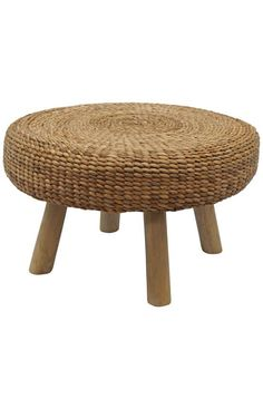 Teak Wood Ottoman with Water Hyacinth Weave