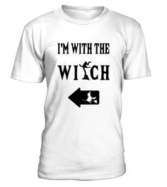 CHECK OUT OTHER AWESOME DESIGNS HERE!     Going out with a witch this Halloween? Get this great shirt for couples to wear at a costume or office party and get the laughs. Have fun trick or treating with this funny Im With The Witch t-shirt for Halloween couples today!   This I'm With The Witch Tee runs small, please size up! Grab this fun halloween t-shirt to wear as a couple. Great holiday gift idea as the perfect couples Halloween costume and clothing gift for men, wome...