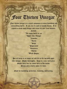 Four Thieves Vinegar for homemade Halloween Spell Book. Halloween Spell Book, Halloween Spells, Witch Spell, Pagan Witch, Witches, Magick Spells, Witchcraft, Hoodoo Spells, Luck Spells
