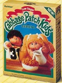 Cabbage Patch Kids Cereal. I ate a lot of character cereals in the 80's and this was by far the worst. 1980s Kids, Breakfast Cereal, Magazines For Kids, Kids Cereal, Cereal Boxes, Retro Toys, Vintage Toys, Cabbage Patch Kids, Low Sugar